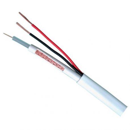 Cable coaxial combinado micro RG59 y alimentación, bobina de 100m, diámetro 6.8mm, blanco