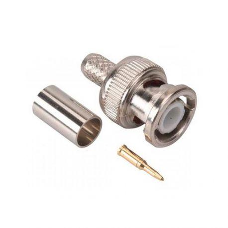 Conector BNC macho de crimpar para cable micro RG59