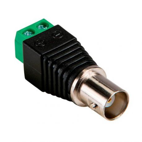 Conector BNC hembra a dos terminales de conexión