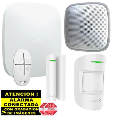 Kit de Alarma Ajax AJ-HUBKIT-W IP y GSM/GPRS con Sirena de Exterior