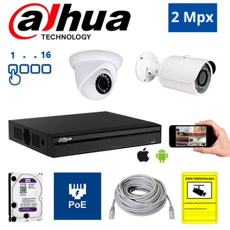Diseña tu Kit de Videovigilancia IP PoE Dahua de 2 Mpx. a medida