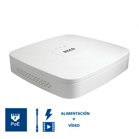 RVNVR04002PA Grabador NVR RISCO VUpoint 4 Canales IP con 4 Puertos PoE