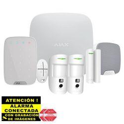 AJ-HUB2KIT-DP-PRO-W Kit de Alarma Ajax AJ-HUB2-W con 2 PIR con Cámara, Teclado y Sirena