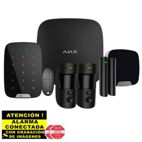 AJ-HUB2KIT-DP-PRO-B Kit de Alarma Ajax negro AJ-HUB2-B con 2 PIR con Cámara, Teclado y Sirena