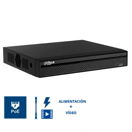 NVR4216-16P-4KS2/L Grabador NVR Dahua 16 CH 8 Mpx (4K) 16 PoE, admite 2 HDD
