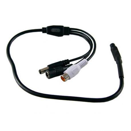 Micrófono externo de videovigilancia con conectores