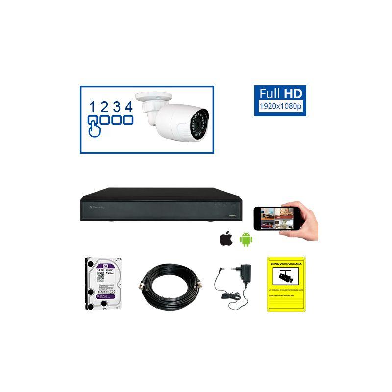 Kit de videovigilancia full hd de 1 a 4 c maras de exterior - Camaras de videovigilancia ...