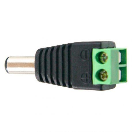 Conector DC macho a dos terminales de conexión