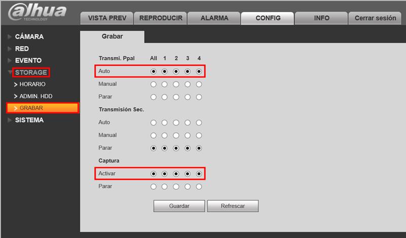 Configuración de la grabación en un grabador de videovigilancia